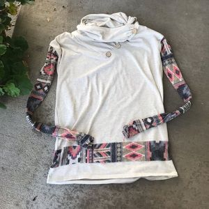 Cowl Neck Cream And Tribal Print Sweater